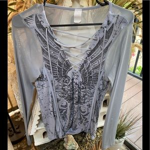 Affliction Sheer Lace Up Bling Tee L